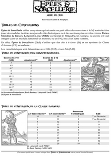 Tables de conversion E&S
